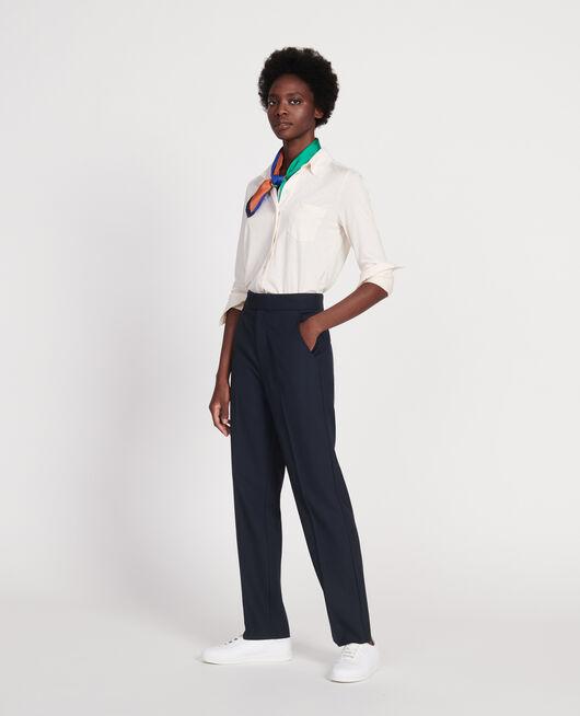 Smooth wool straight trousers DARK NAVY