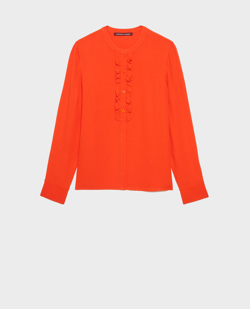 Ruffle front blouse Spicy orange Nemours