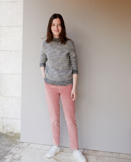 Ribbed corduroy trousers OLD ROSE
