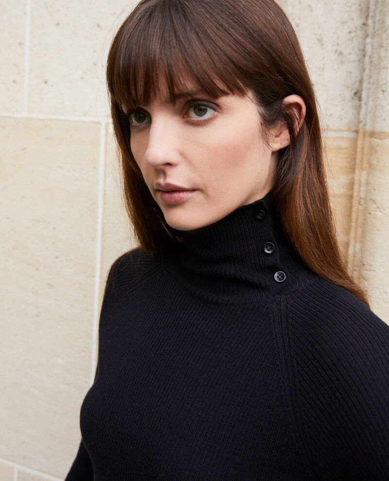 Jumper with buttons on the collar 100% Merino Wool Noir Jemo