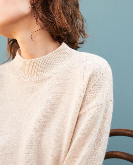 Cashmere jumper with high collar  Beige
