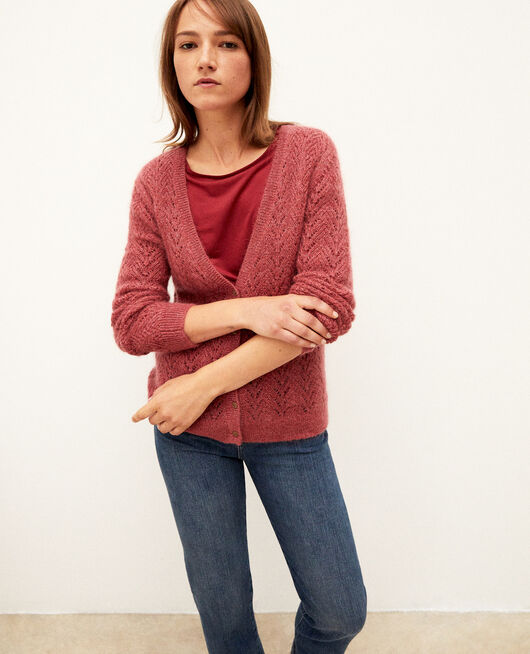 Mohair blend cardigan EARTH RED