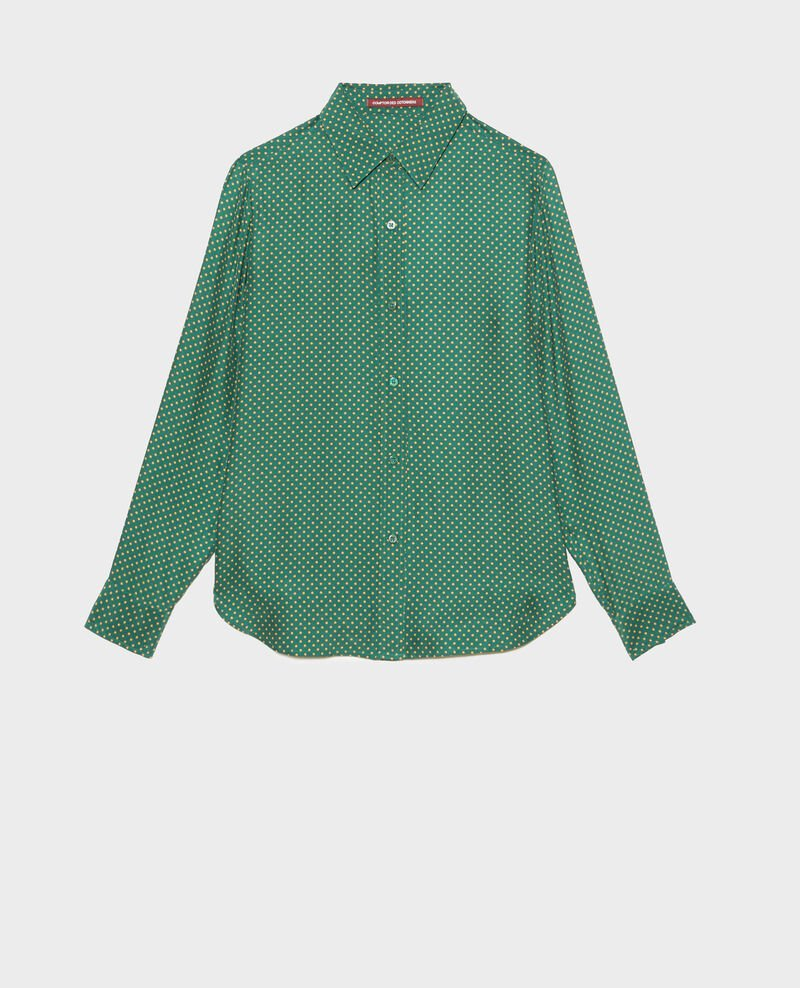 Long-sleeve silk men's shirt Little pois dark green Morigesa