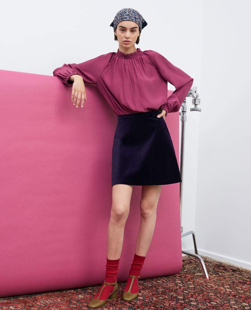Velvet flippy mini skirt Purple Pair