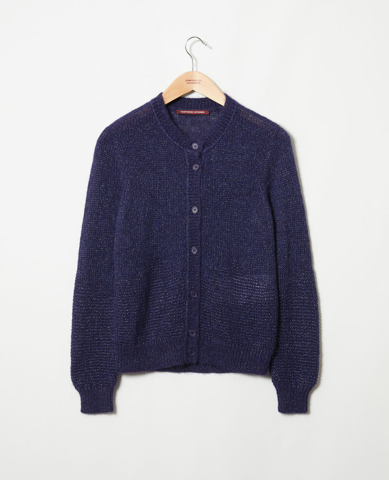 Cardigan with shiny lurex thread Evening blue Jalouse