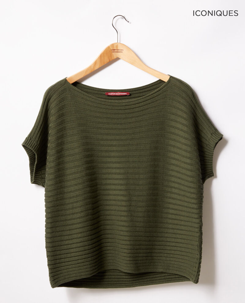 Short-sleeved seamless ribbed knit jumper Laurel green Falsi