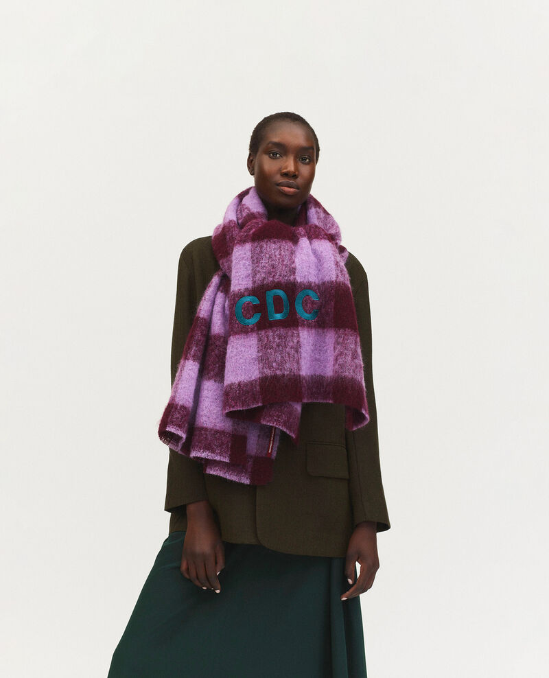 """CDC"" embroidered wool XXL scarf Pastel lilac Maxou"