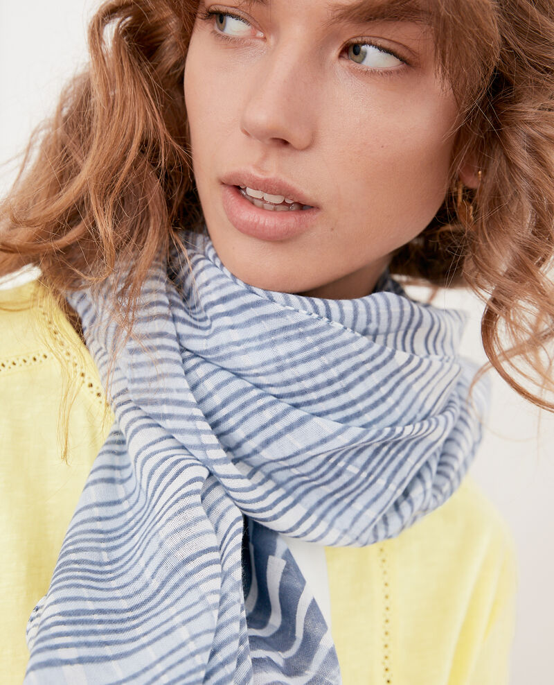Printed scarf Tie&dye washed blue Fye