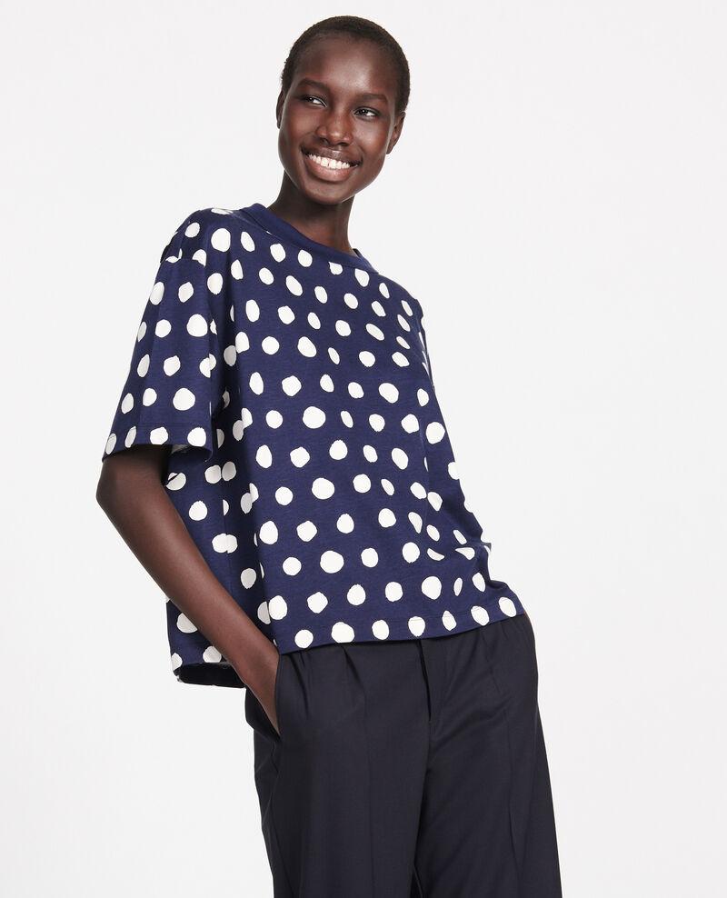 Boxy cotton t-shirt Dots maritime blue Lenoyer