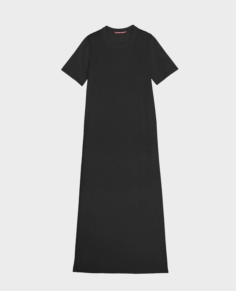Mercerised cotton maxi dress Black beauty Larosata