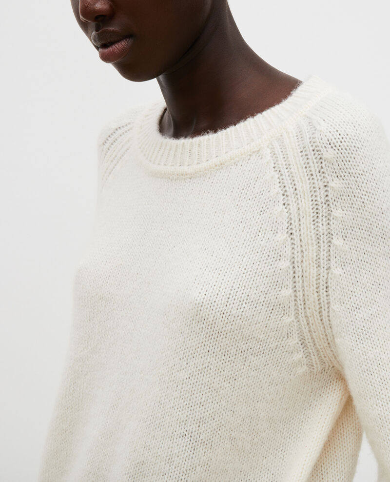 Loose boatneck wool jumper Jet stream Mombrier