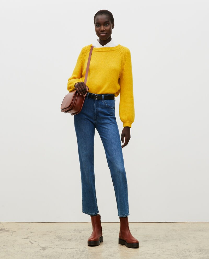 Loose boatneck wool jumper Lemon curry Mombrier