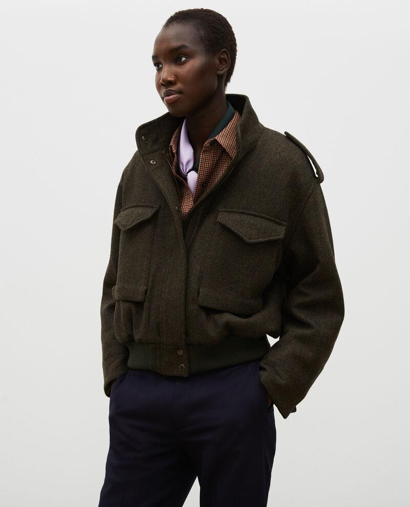 Chevron wool tweed aviator jacket Military green Maucora