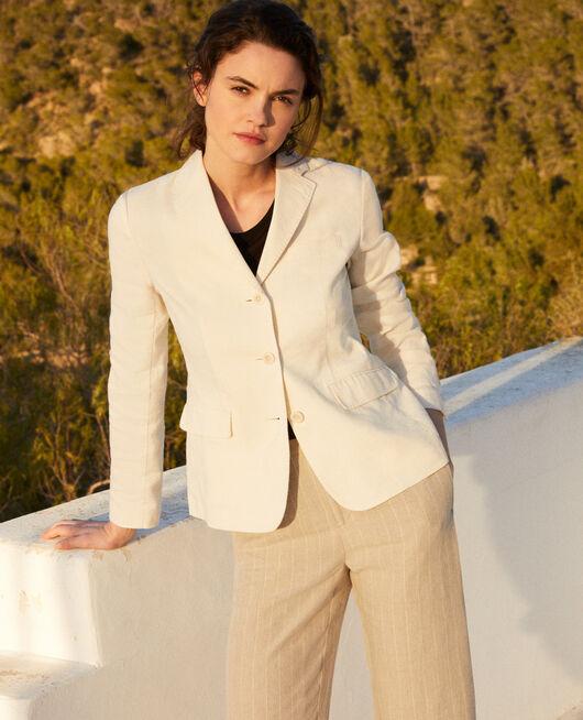 Linen blend blazer OFF WHITE