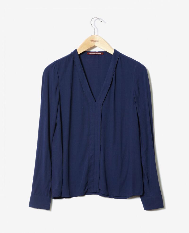 V-neck blouse Medieval blue 9ganet