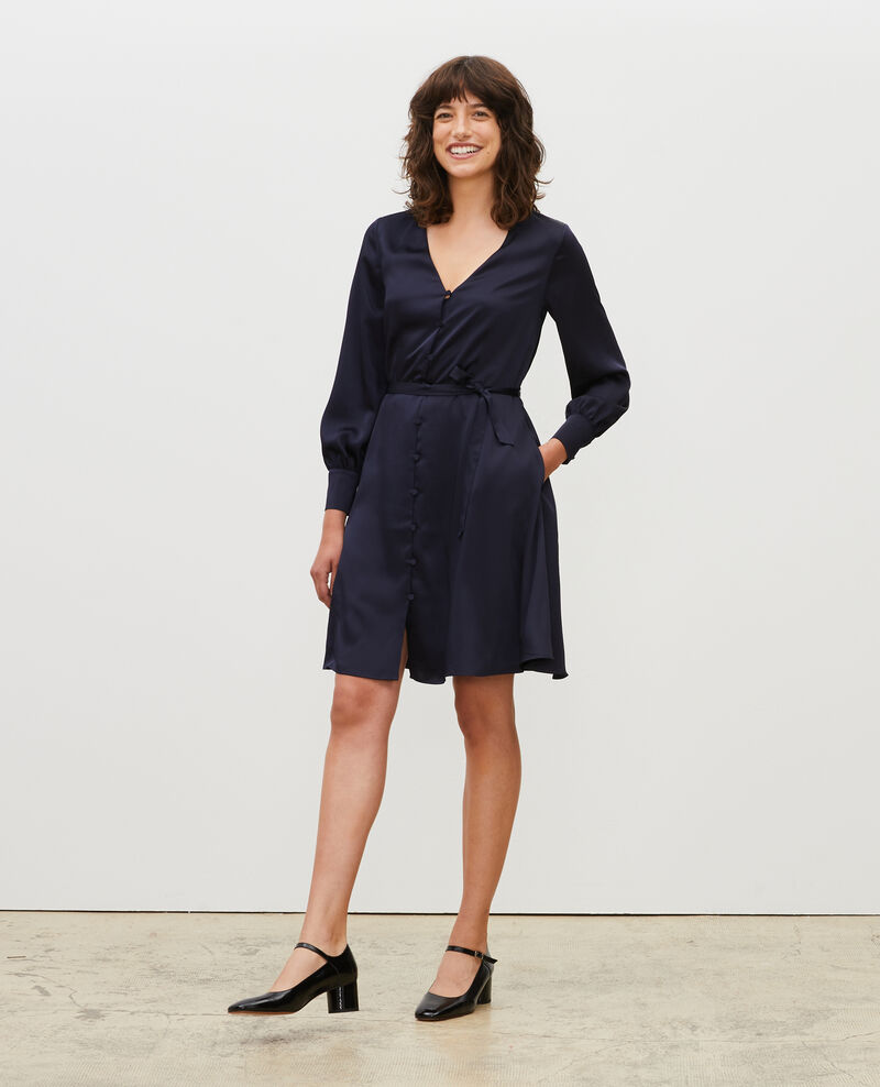Loose button front mini dress Night sky Margonou