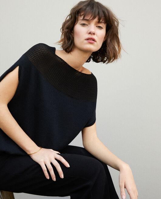 Bubble-shaped whole garment jumper NOIR