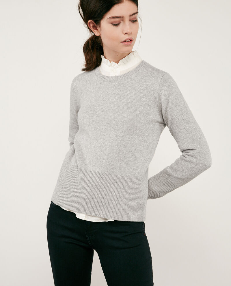Shimmering wool and lurex jumper Light grey Doupida