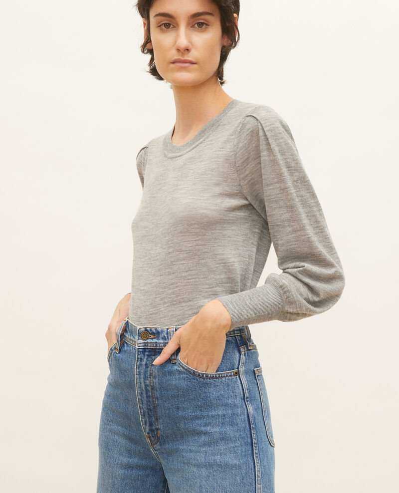 Round neck merino wool jumper Light grey melange Molineta