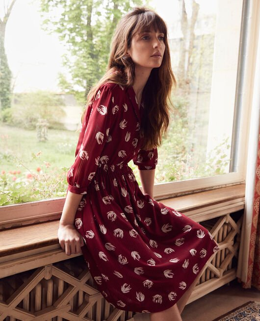 Printed shirt dress TULIP CABERNET