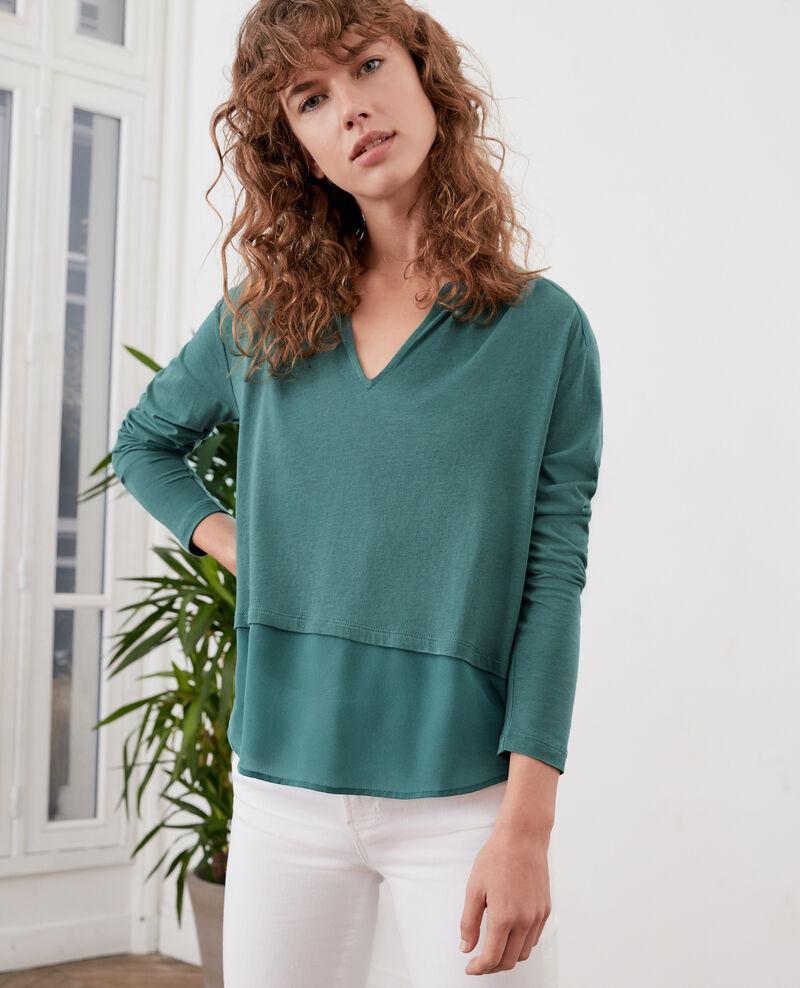 Bimaterial T-shirt with silk Blue Fabio