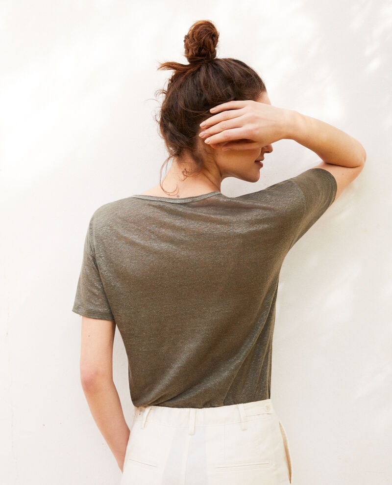 Shiny linen t-shirt Military green Imapou