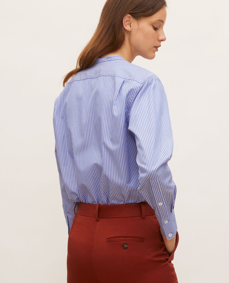 Collarless cotton shirt Popeline stripe2 Lannion