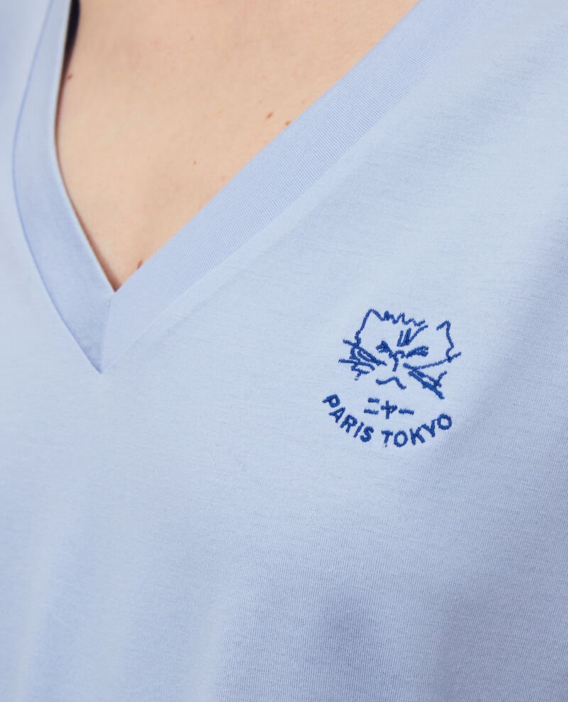 Embroidered cotton t-shirt Blue heron Nagaoka