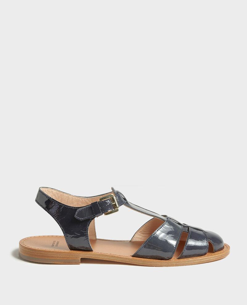 Patent leather sandals Maritime blue Lapiaz