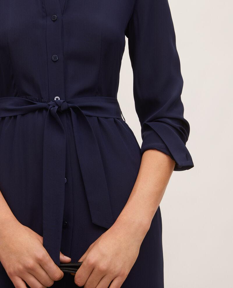 Round neck silk shirt dress with belt Maritime blue Lolita