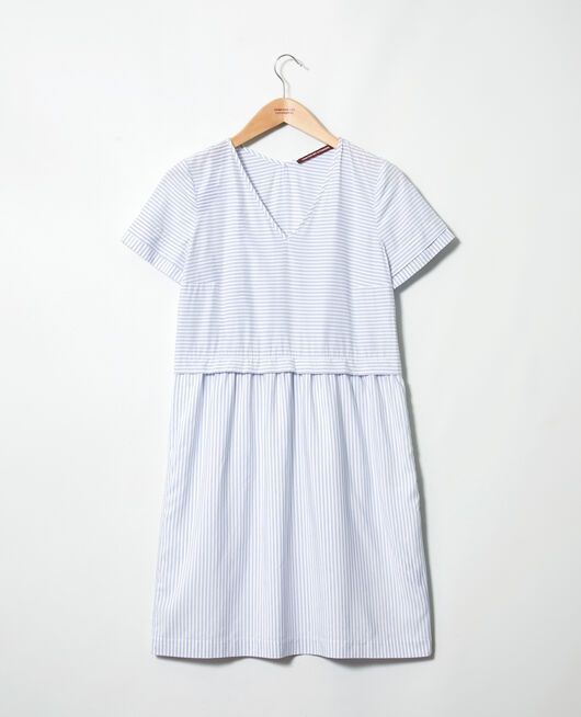 Striped V-neck dress BLANC/INDIGO