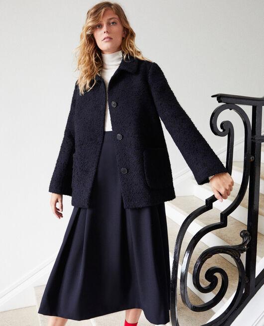 Boiled wool coat NAVY