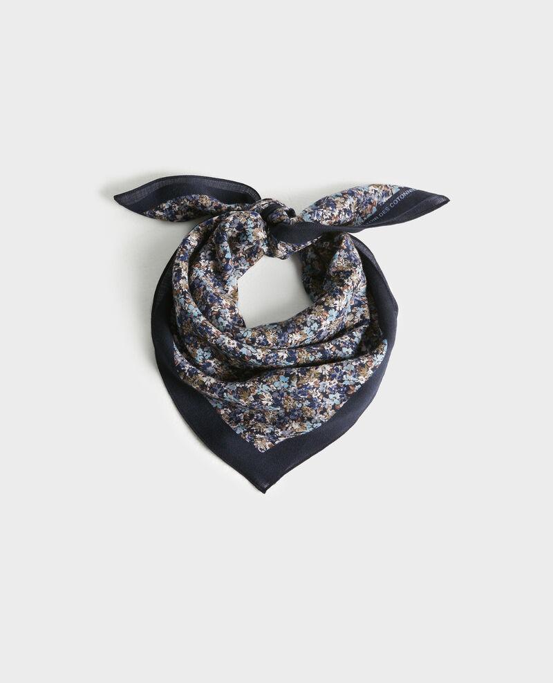 Printed wool scarf Stone blue Piberty