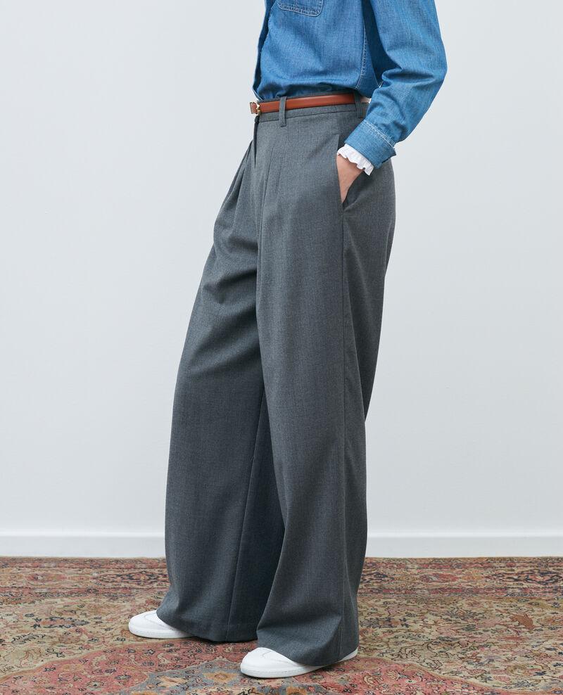 High-waisted wide wool trousers YVONNE Medium grey melange Mafare