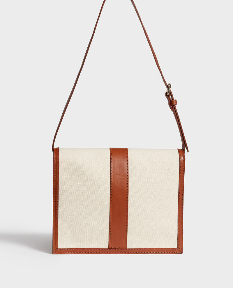 Canvas and leather flap bag Gardenia camel Lettre