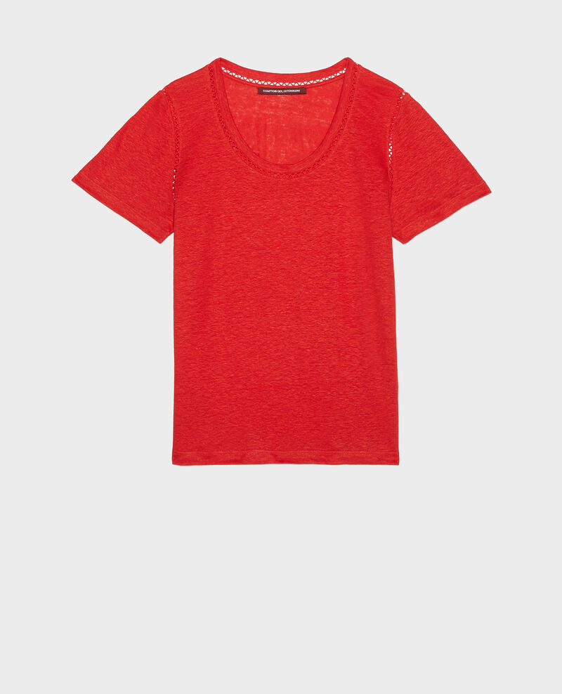 Linen jersey T-shirt Fiery red Lye