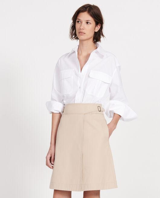 Cotton wrapover skirt OXFORD TAN
