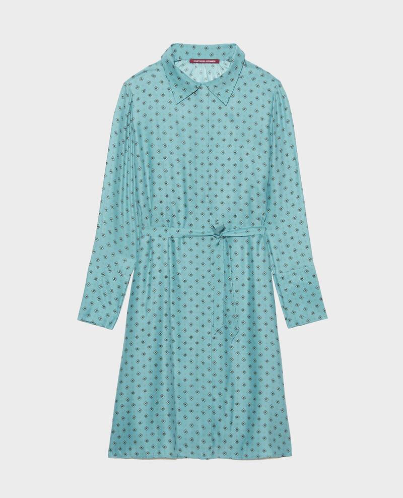 Silk shirt dress with belt Print mosaique treillis Maridansa
