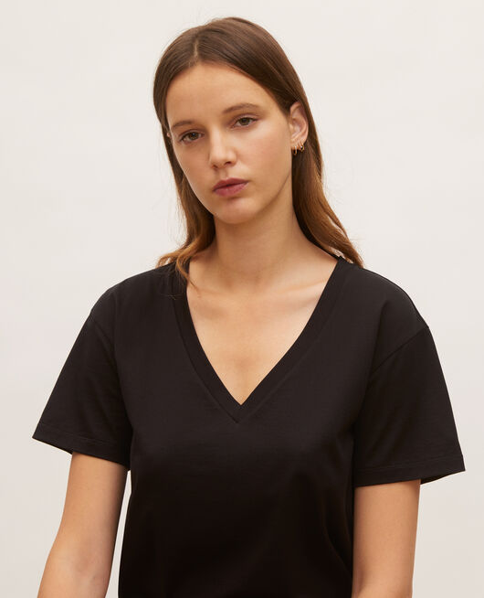 V-neck cotton t-shirt BLACK BEAUTY