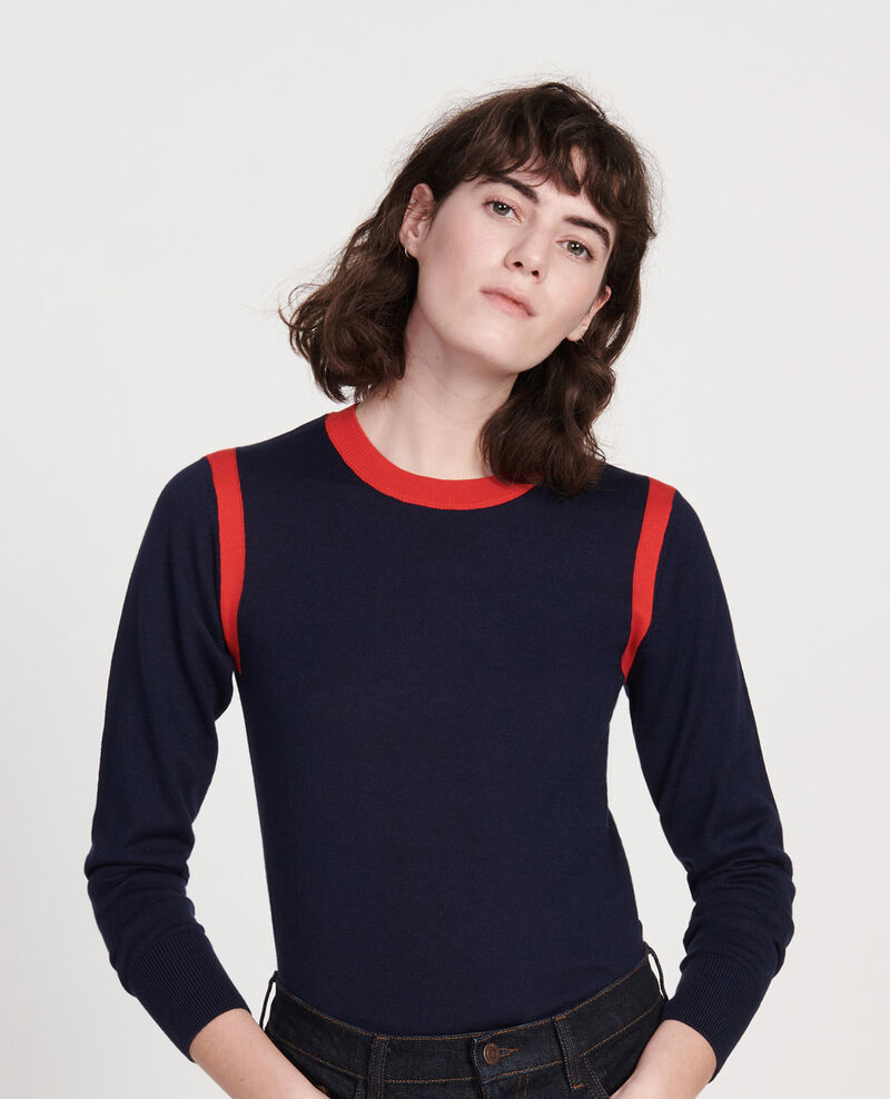 Silk cashmere blend jumper Stripes maritime blue fiery red Lovina