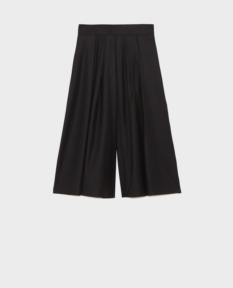 Pleated wool and cashmere culottes Black beauty Marby