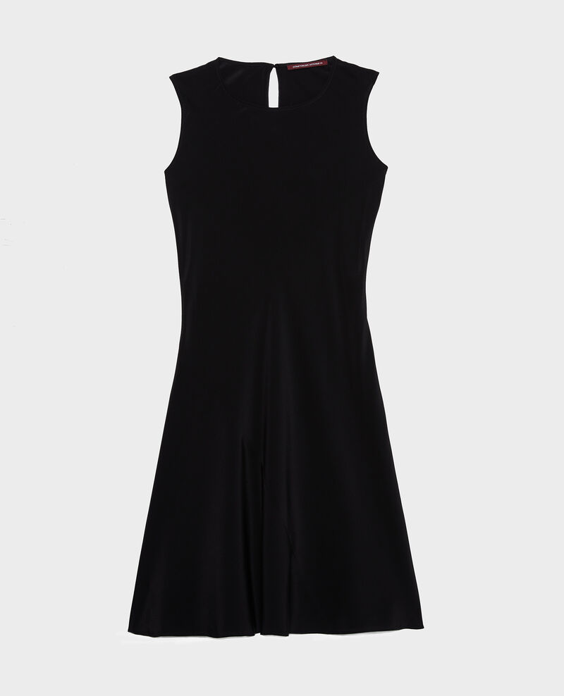 Sleeveless bias-cut silk dress Black beauty Leonide
