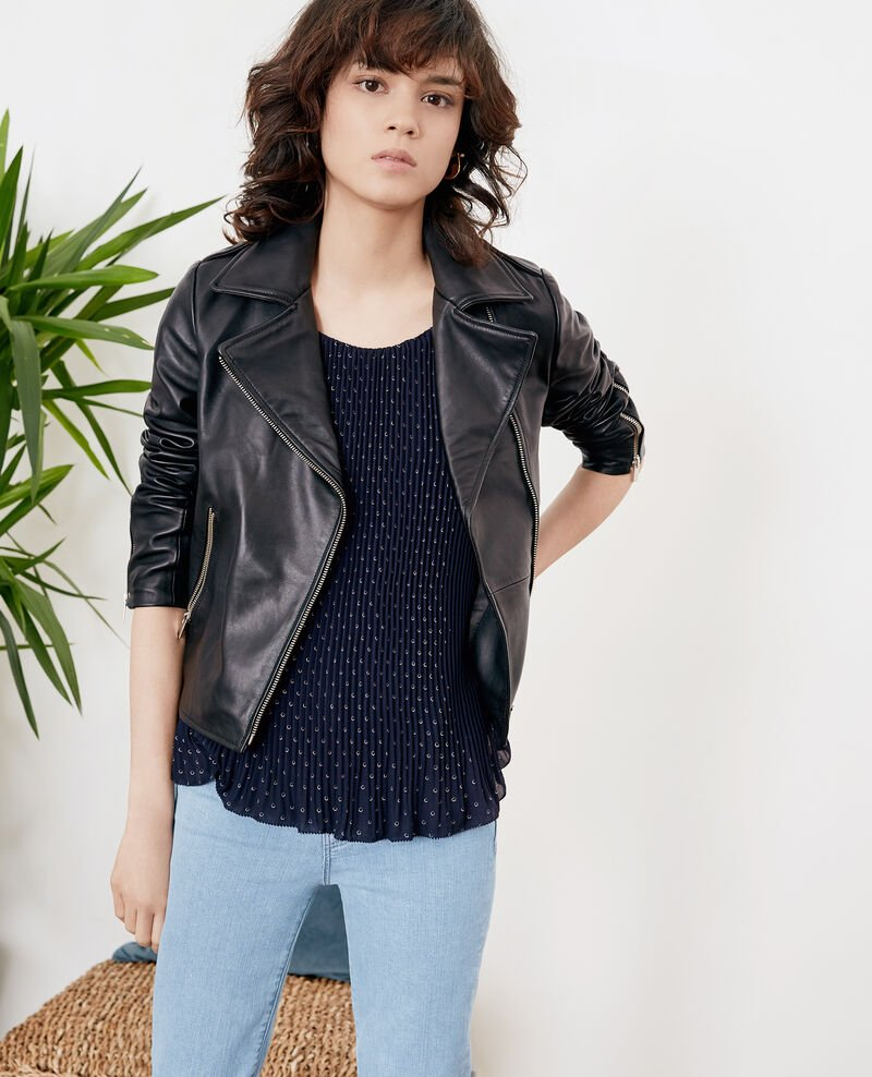 Pleated blouse Ring dots marine Filou