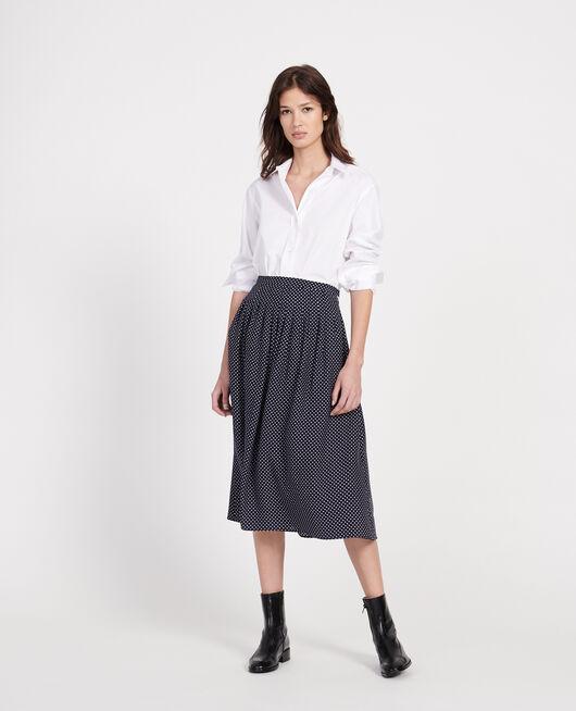 100% silk skirt DOTS MARITIME BLUE