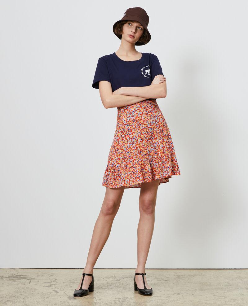 Printed mini skirt Garden royalblue Nodale