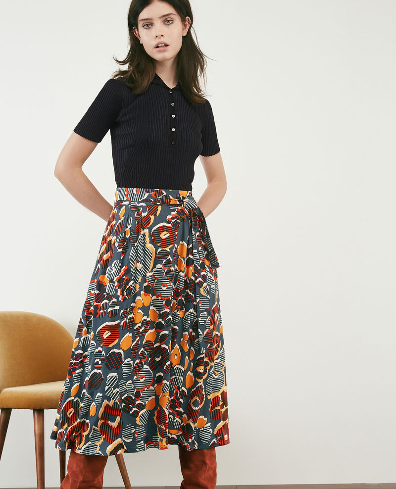 Printed midi skirt Shaft curcuma Dacteur