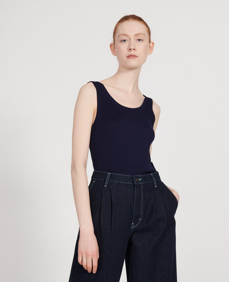 Ribbed jersey vest Maritime blue Locon