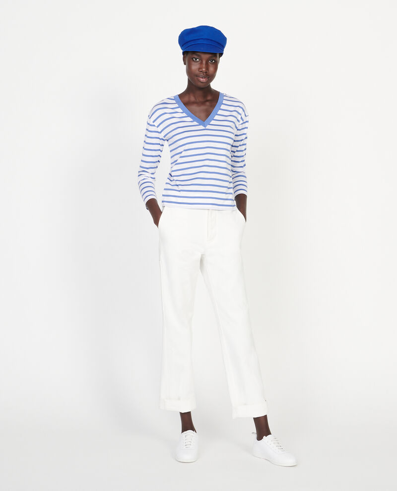 Egyptian cotton t-shirt Stripes optical white amparo blue Lana