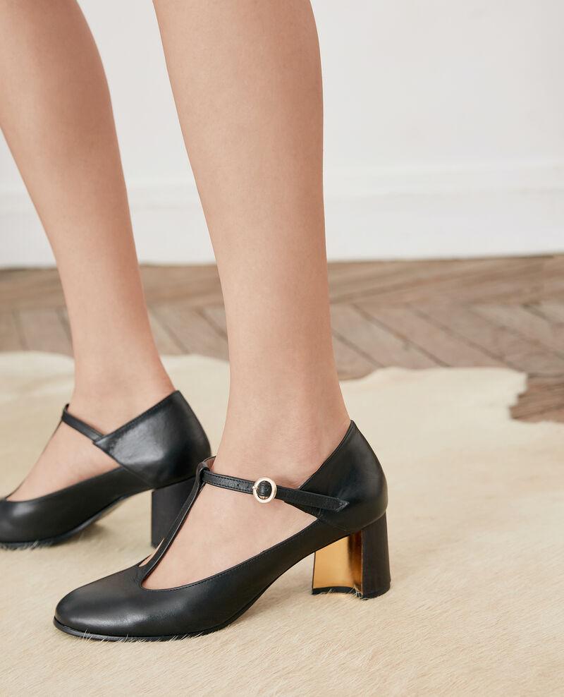 Leather Salome shoe Noir Fillette