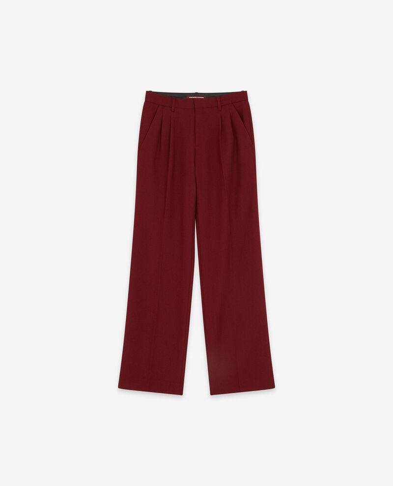 Wool blend wide trousers Burgundy Declic